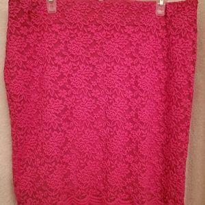 Torrid Hot Pink Lace Mini Skirt